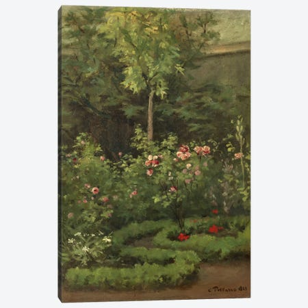 A Rose Garden, 1862 Canvas Print #BMN6640} by Camille Pissarro Art Print