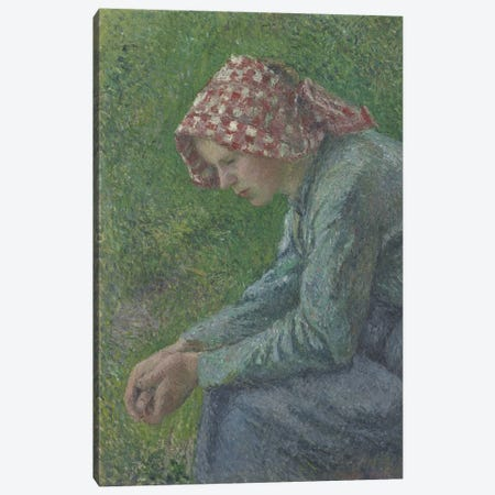A Seated Peasant Woman, 1885 Canvas Print #BMN6641} by Camille Pissarro Art Print