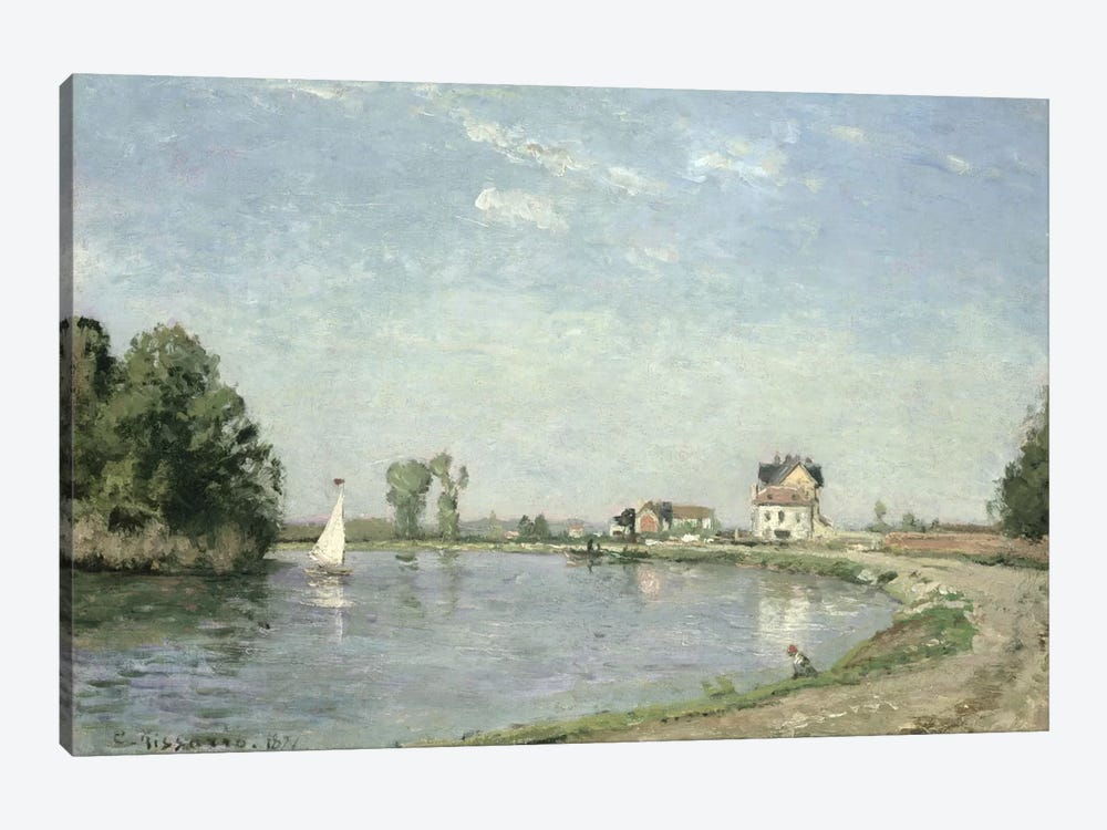 At The River's Edge, 1871 by Camille Pissarro 1-piece Canvas Art Print
