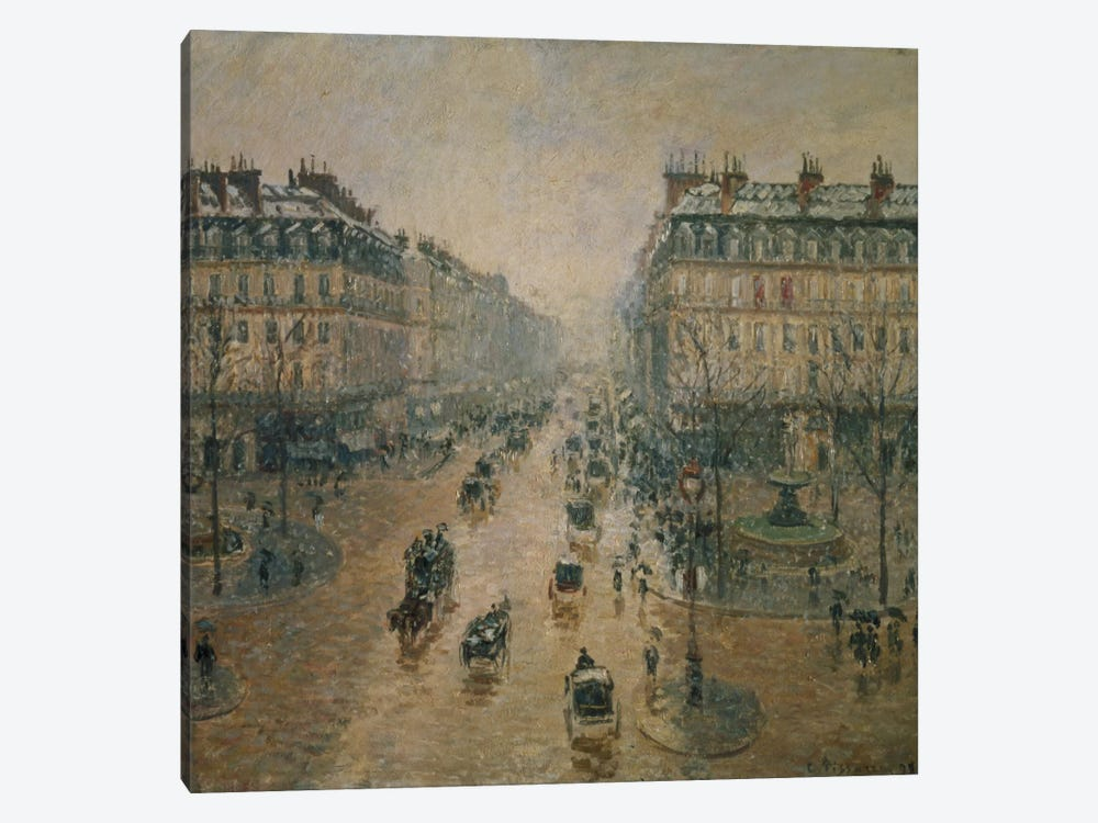 Avenue de l'Opera, Paris, 1898 by Camille Pissarro 1-piece Canvas Art