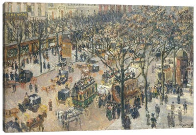Boulevard des Italiens, Morning, Sunlight, 1897 Canvas Art Print