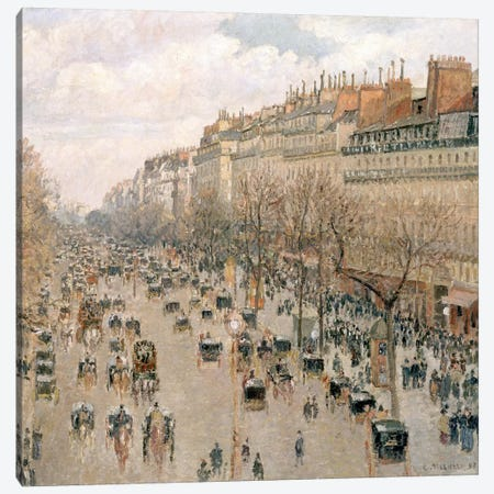 Boulevard Montmartre, Afternoon, Sun, 1897 Canvas Print #BMN6645} by Camille Pissarro Canvas Wall Art