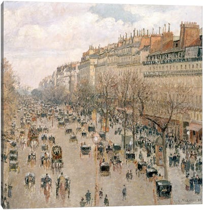 Boulevard Montmartre, Afternoon, Sun, 1897 Canvas Art Print
