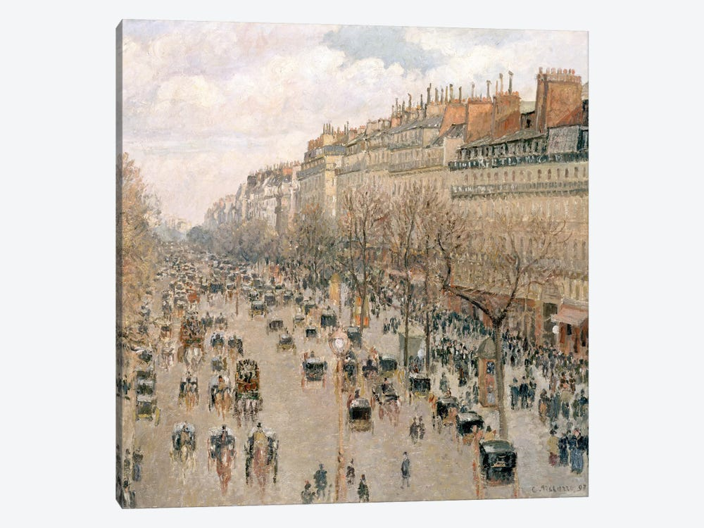 Boulevard Montmartre, Afternoon, Sun, 1897 by Camille Pissarro 1-piece Canvas Artwork