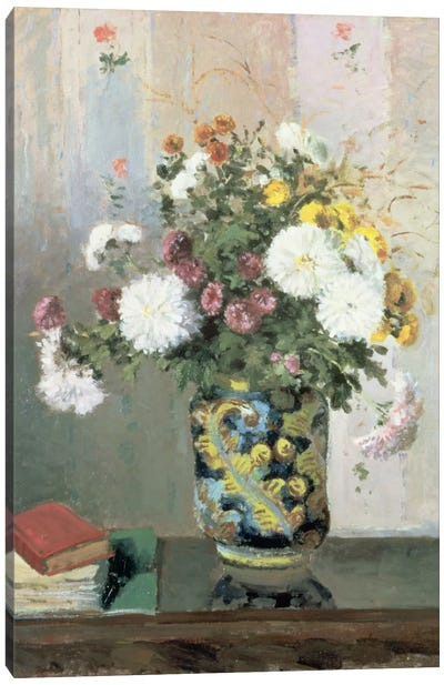 Bouquet Of Flowers, Chrysanthemums In A Chinese Vase Canvas Art Print