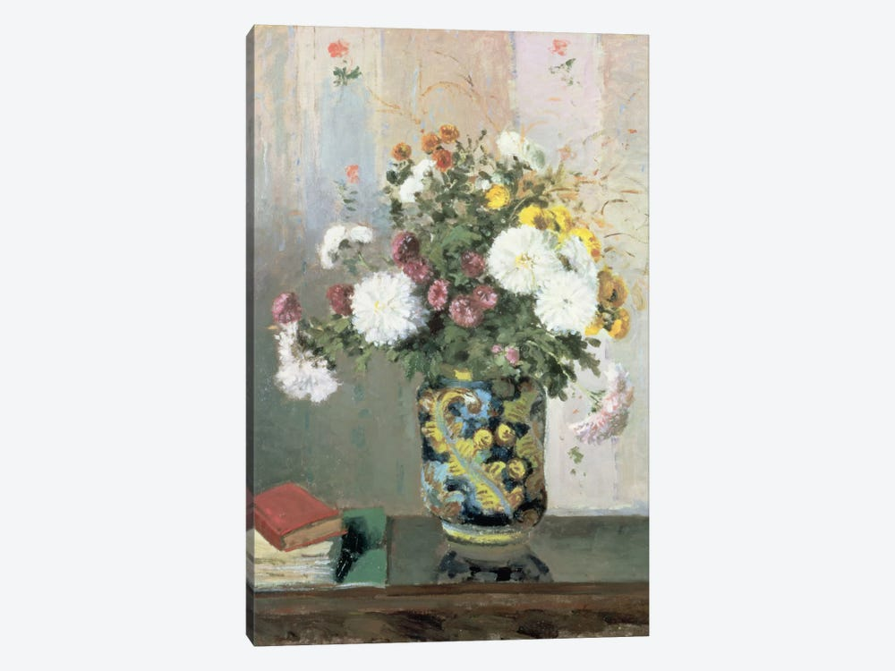 Bouquet Of Flowers, Chrysanthemums In A Chinese Vase by Camille Pissarro 1-piece Canvas Art Print
