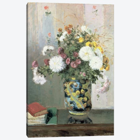 Bouquet Of Flowers, Chrysanthemums In A Chinese Vase Canvas Print #BMN6646} by Camille Pissarro Canvas Wall Art