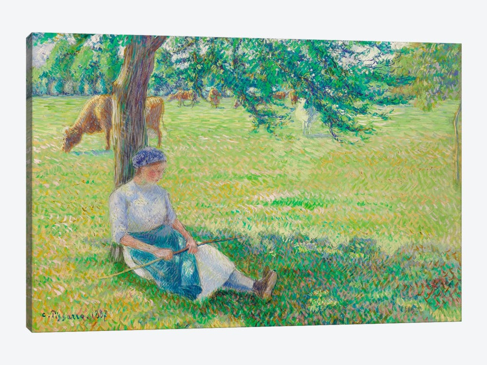 Cowgirl, Eragny, 1887 by Camille Pissarro 1-piece Canvas Print