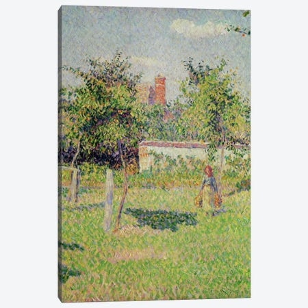 Detail Of Center, Woman In The Meadow At Eragny, Spring, 1887 Canvas Print #BMN6649} by Camille Pissarro Art Print