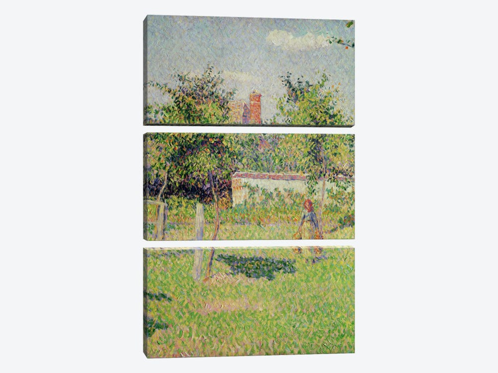 Detail Of Center, Woman In The Meadow At Eragny, Spring, 1887 by Camille Pissarro 3-piece Canvas Wall Art
