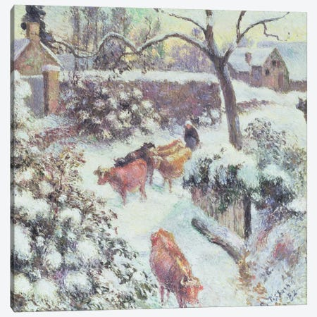 Effet de Neige a Montfoucault, 1882 Canvas Print #BMN6650} by Camille Pissarro Canvas Wall Art