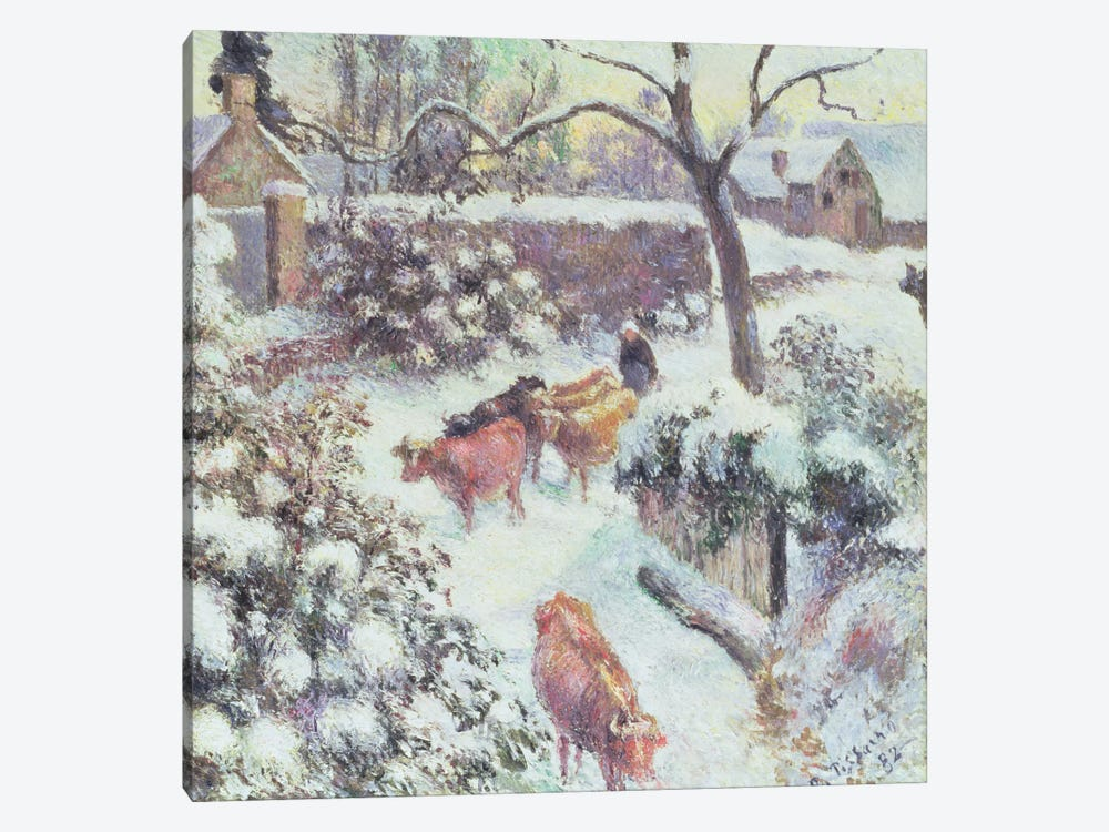 Effet de Neige a Montfoucault, 1882 by Camille Pissarro 1-piece Canvas Art