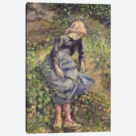 Girl With A Stick, 1881 Canvas Print #BMN6652} by Camille Pissarro Canvas Art