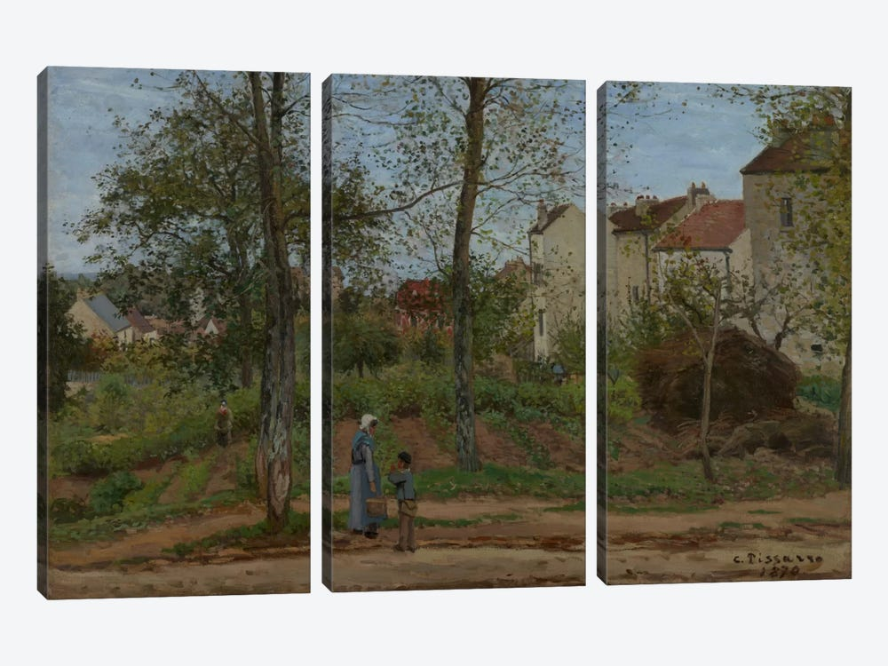 Houses At Bougival, 1870 by Camille Pissarro 3-piece Art Print