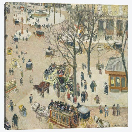 La Place du Theatre Francais, 1898 Canvas Print #BMN6655} by Camille Pissarro Canvas Art Print
