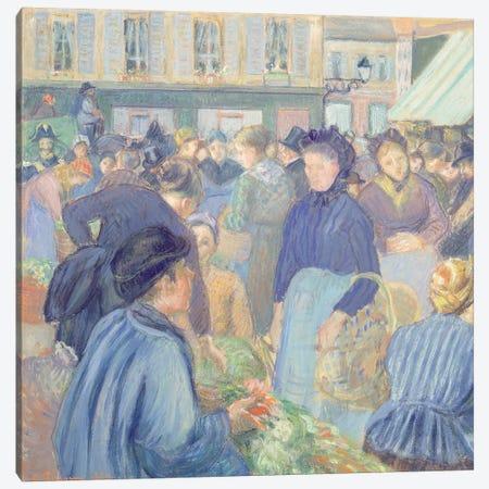 Le Marche de Gisors, 1889 Canvas Print #BMN6658} by Camille Pissarro Canvas Artwork