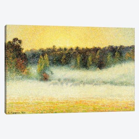 Misty Sunset At Eragny, 1891 Canvas Print #BMN6659} by Camille Pissarro Canvas Artwork