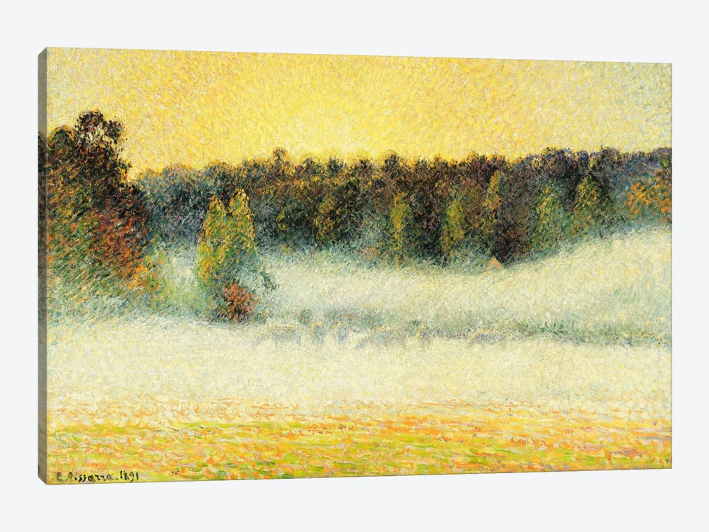 Misty Sunset At Eragny, 1891 by Camille Pissarro 1-piece Canvas Print