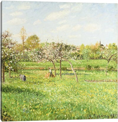 Morning, Spring, Grey Weather, Eragny, 1900 Canvas Art Print