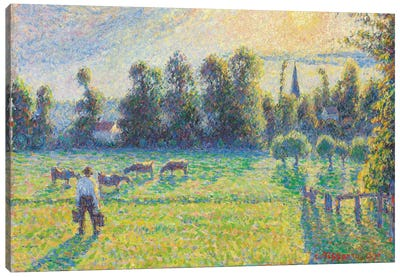 Pasture, Sunset, Eragny, 1890 Canvas Art Print