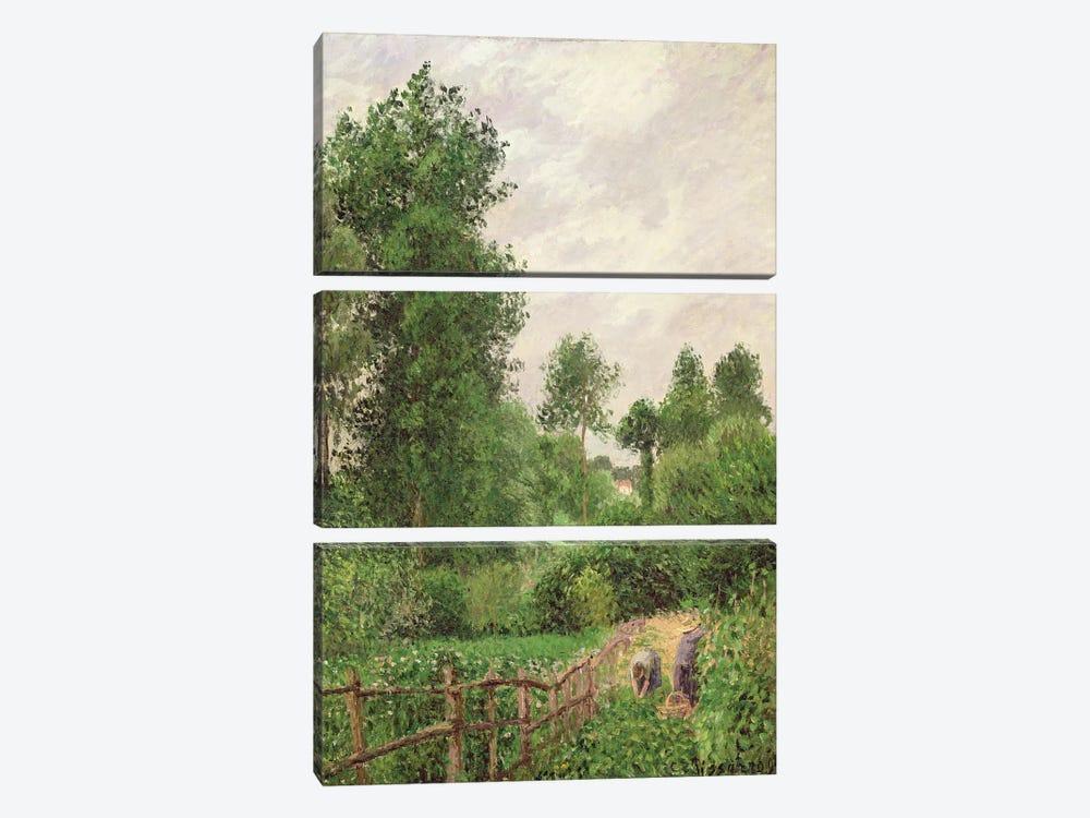 Paysage, Temps Gris a Eragny, 1899 by Camille Pissarro 3-piece Canvas Artwork