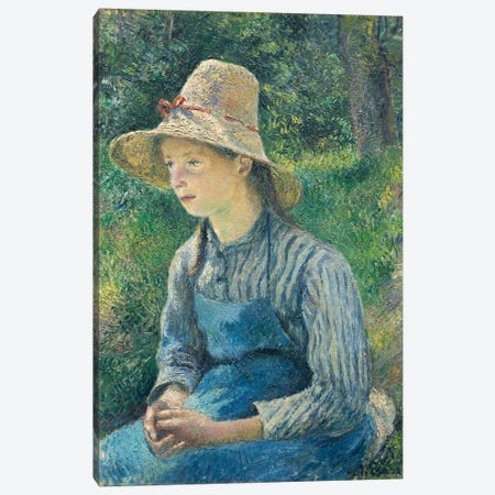 Peasant Girl With A Straw Hat, 1881 Canvas Print #BMN6666} by Camille Pissarro Canvas Wall Art