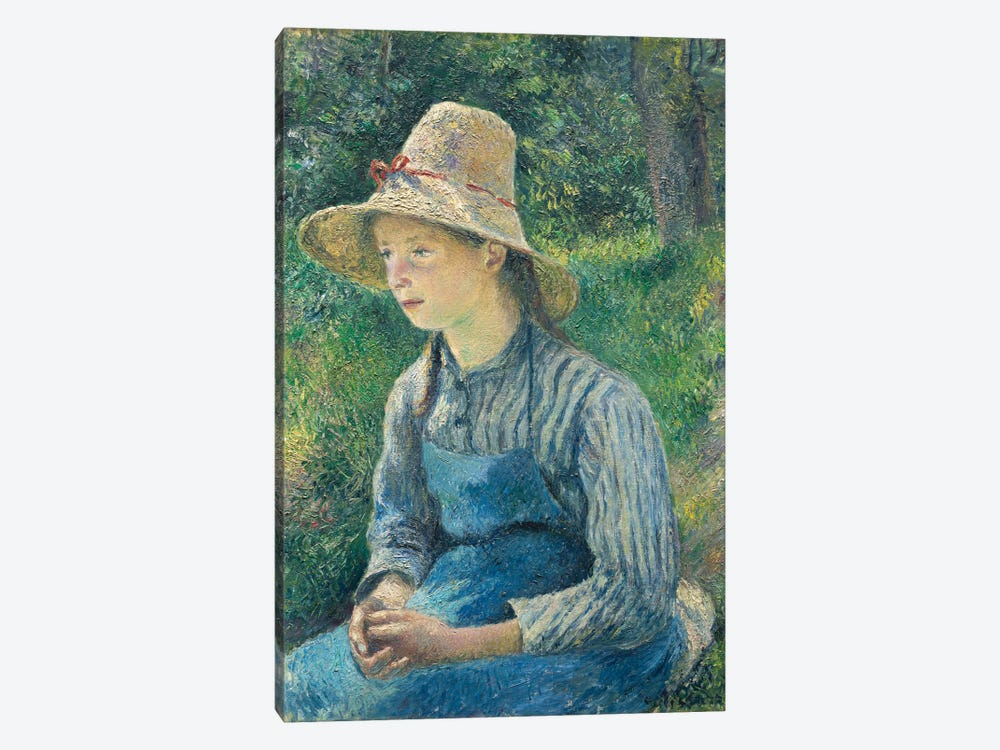 Peasant Girl With A Straw Hat, 1881 by Camille Pissarro 1-piece Canvas Art Print