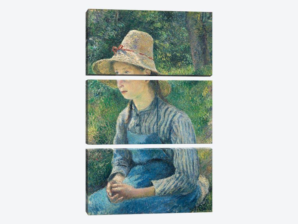 Peasant Girl With A Straw Hat, 1881 by Camille Pissarro 3-piece Art Print