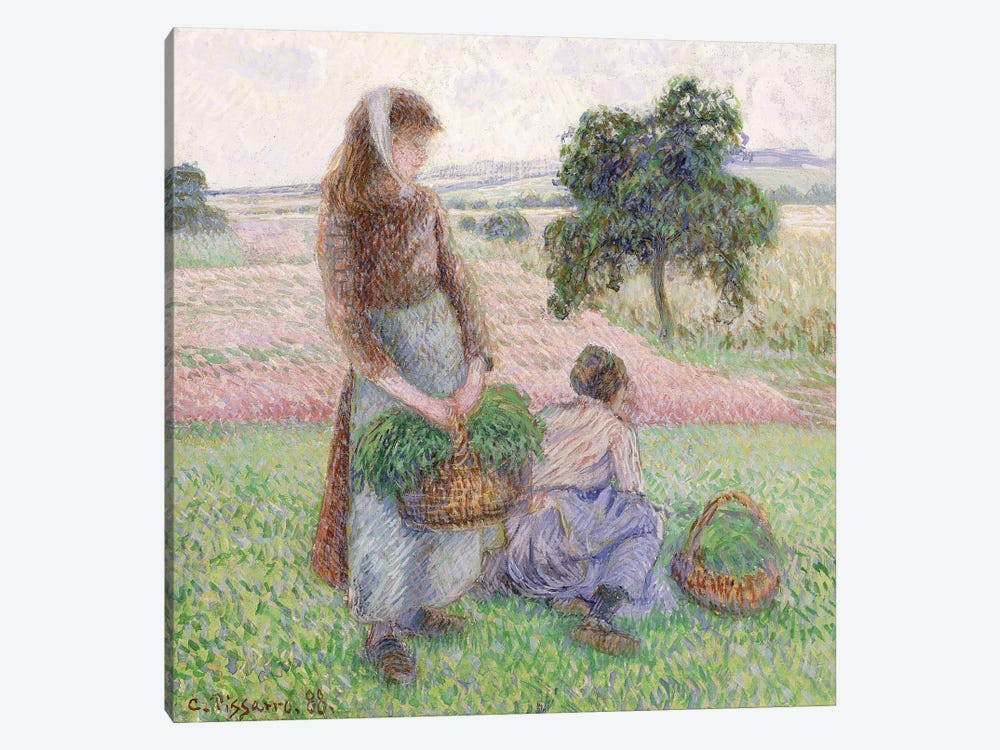 Peasants Carrying Baskets, 1888 by Camille Pissarro 1-piece Canvas Art