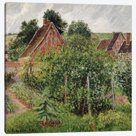 Rain, Afternoon, Eragny, 1899 Canvas Print #BMN6672} by Camille Pissarro Canvas Artwork