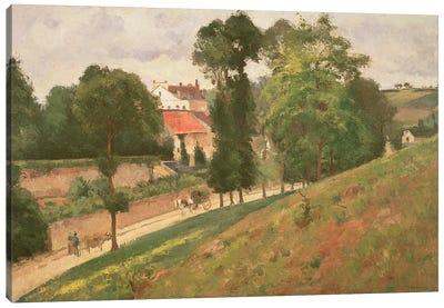 Route de Saint-Antoine a l'Hermitage, Pontoise, 1873 Canvas Art Print