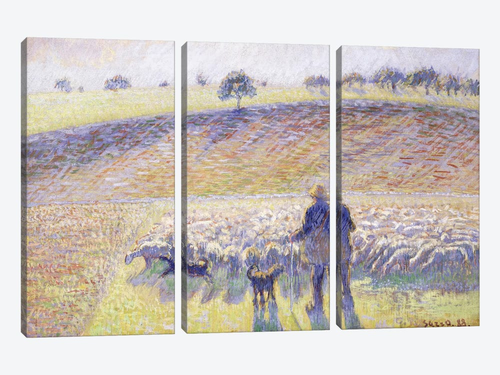 Shepherd With Sheep, 1888 by Camille Pissarro 3-piece Canvas Art