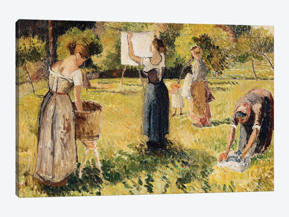 Study Of Washers At Eragny, c.1901 by Camille Pissarro 1-piece Canvas Art