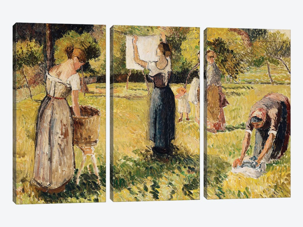 Study Of Washers At Eragny, c.1901 by Camille Pissarro 3-piece Canvas Art