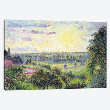 Sunset At Eragny, 1891 Canvas Print #BMN6677} by Camille Pissarro Canvas Print