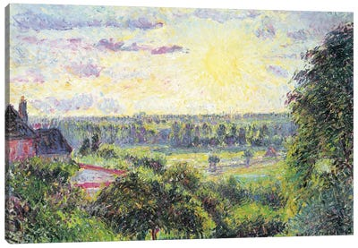 Sunset At Eragny, 1891 Canvas Art Print