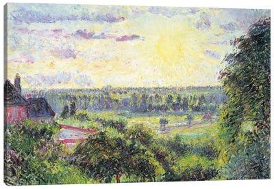 Sunset At Eragny, 1891 Canvas Art Print