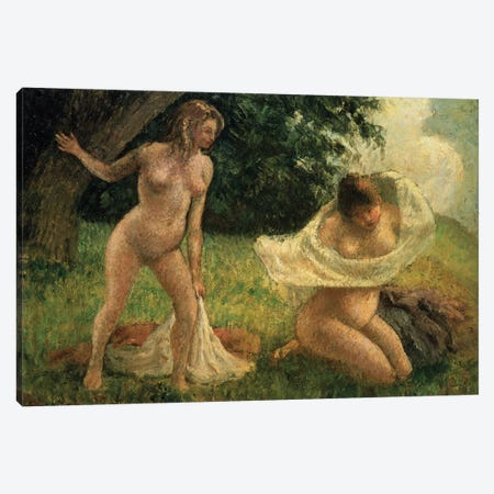 The Bathers Canvas Print #BMN6680} by Camille Pissarro Art Print