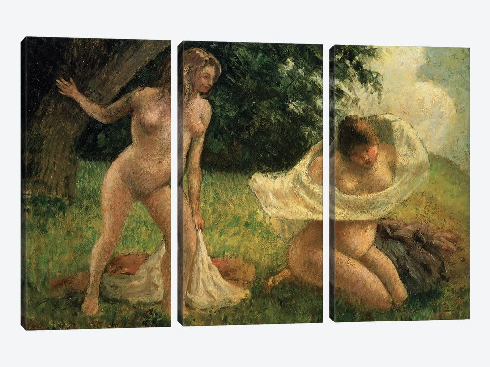 The Bathers by Camille Pissarro 3-piece Canvas Art Print