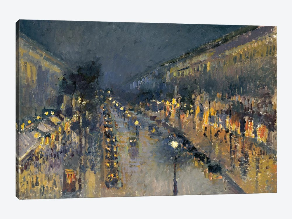 The Boulevard Montmartre At Night, 1897 by Camille Pissarro 1-piece Canvas Art