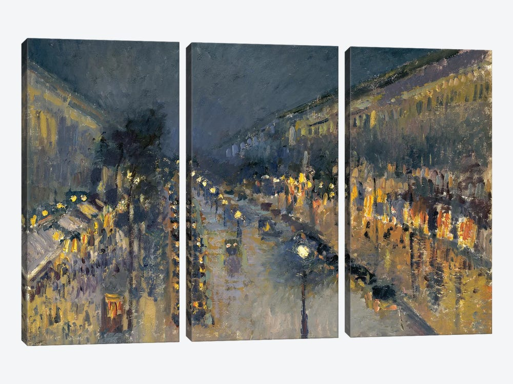 The Boulevard Montmartre At Night, 1897 by Camille Pissarro 3-piece Canvas Wall Art