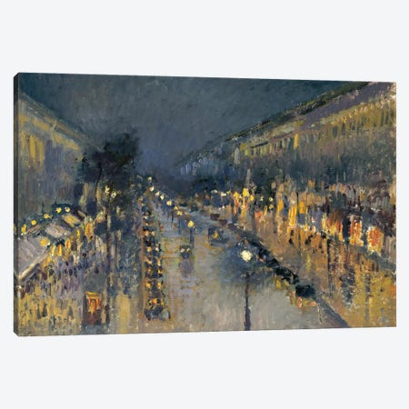 The Boulevard Montmartre At Night, 1897 Canvas Print #BMN6681} by Camille Pissarro Canvas Print
