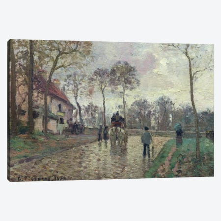 The Coach To Louveciennes, 1870 Canvas Print #BMN6685} by Camille Pissarro Canvas Artwork