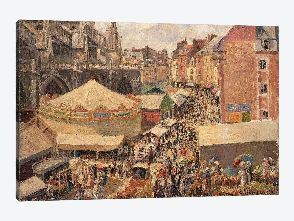 The Fair In Dippe, Sunny Morning, 1901 by Camille Pissarro 1-piece Canvas Print