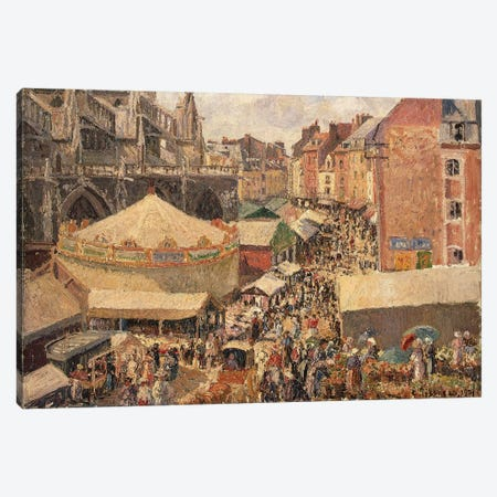 The Fair In Dippe, Sunny Morning, 1901 3-Piece Canvas #BMN6686} by Camille Pissarro Canvas Art