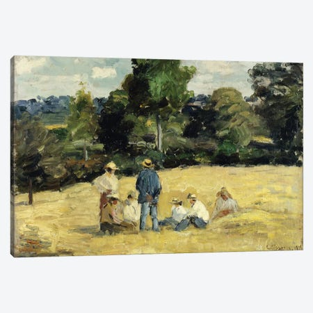 The Harvesters Rest, Montfoucault, 1875 Canvas Print #BMN6691} by Camille Pissarro Canvas Wall Art