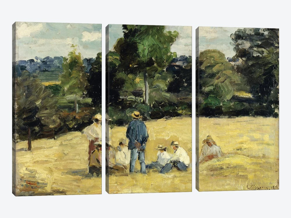 The Harvesters Rest, Montfoucault, 1875 by Camille Pissarro 3-piece Canvas Art Print