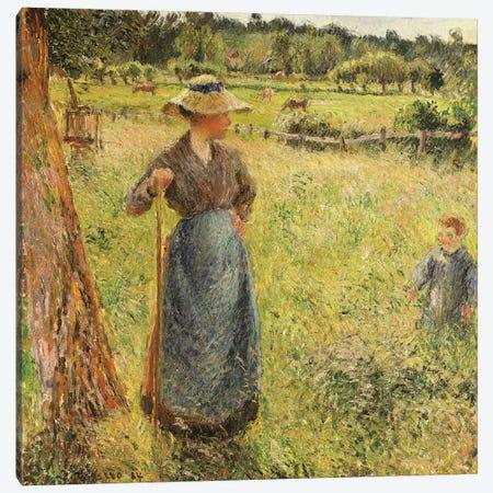 The Haymaker, 1884 Canvas Print #BMN6692} by Camille Pissarro Canvas Artwork