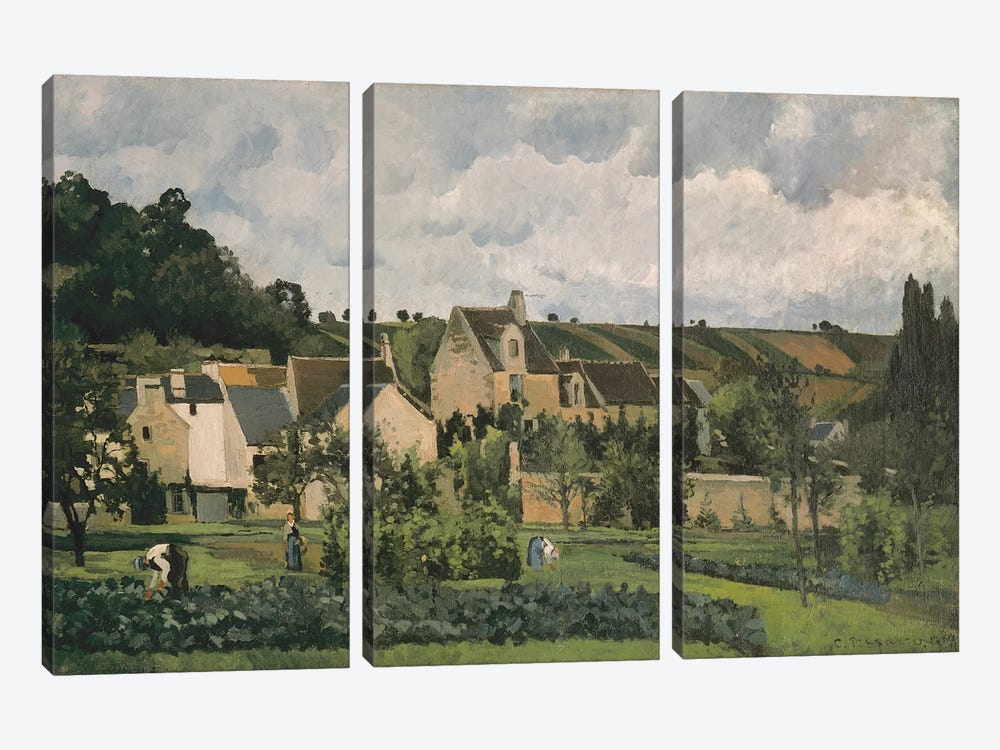 The Hermitage At Pontoise, 1867 by Camille Pissarro 3-piece Canvas Art Print