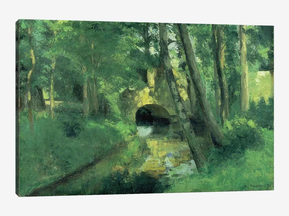 The Little Bridge, Pontoise, 1875 by Camille Pissarro 1-piece Canvas Wall Art